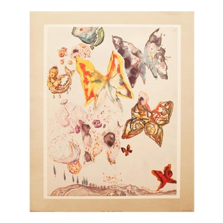 Rare 1951 Dali, Original Period Butterflies Lithograph, the Mrs. Albert D. Lasker Collection For Sale