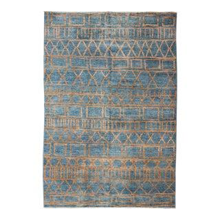 Modern Design Afghan Rug With Minimalist Tribal Design in Blue & Light Orange For Sale