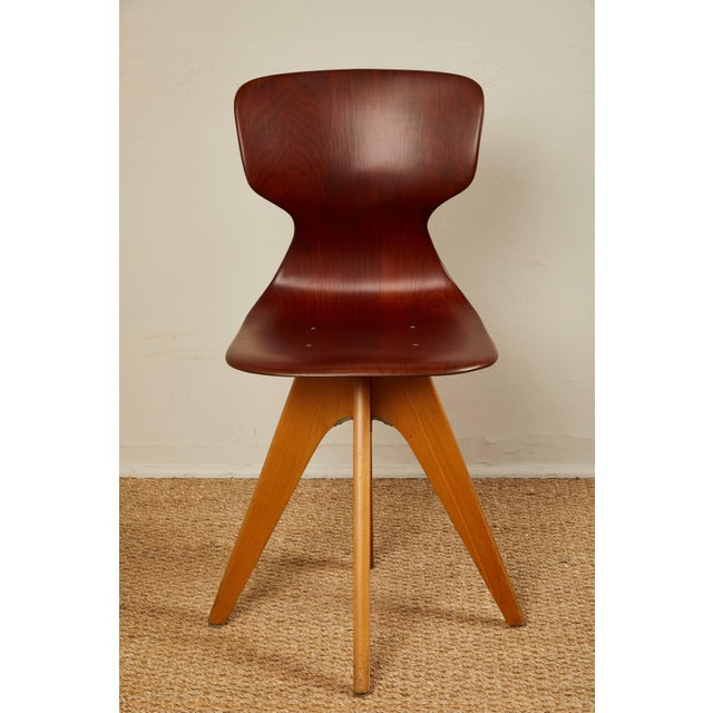 Red Mid-Century German School Chairs - Set of 6 For Sale - Image 8 of 13