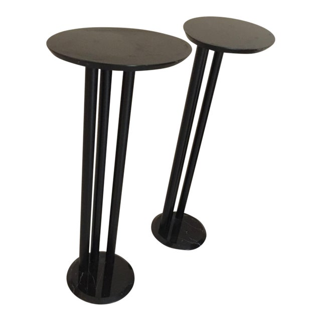 Modern Black Display Pedestals- a Pair For Sale