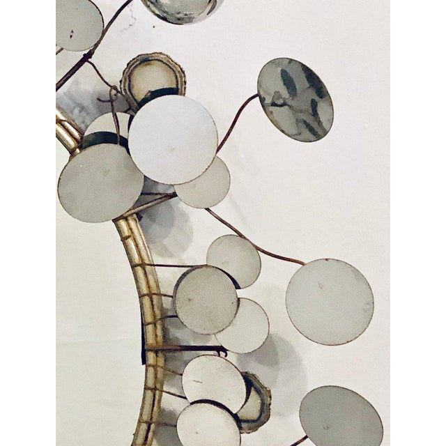 1940s Mid-Century Modern Bamboo Form Frame Mirror with Floating Orbit Spheres For Sale - Image 5 of 12