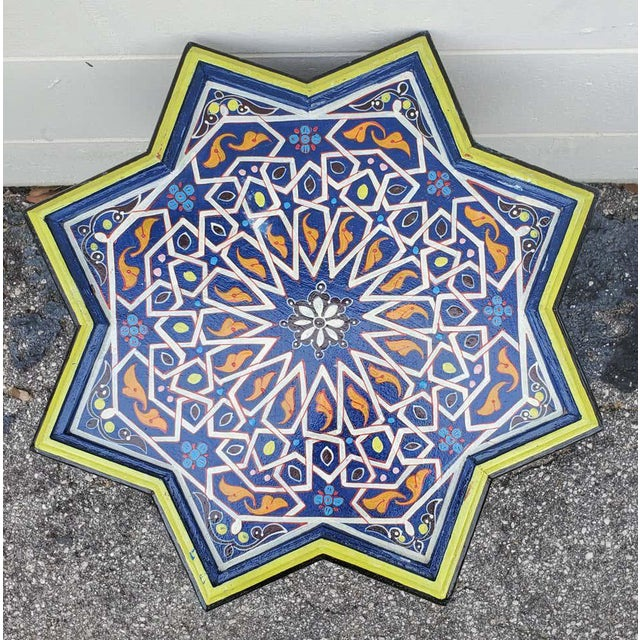 Islamic Moroccan Sm Ceuta 2 Painted and Carved Star Table, Multi-Color For Sale - Image 3 of 8