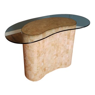 1970s Hollywood Regency Maitland Smith Pink Tessellated Stone Kidney Shaped Table For Sale