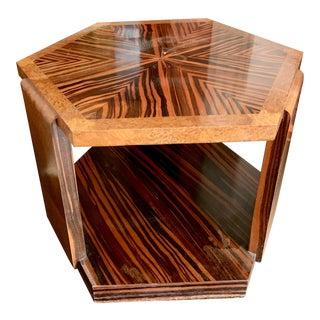 Zebra Wood Hexagonal Side Table For Sale