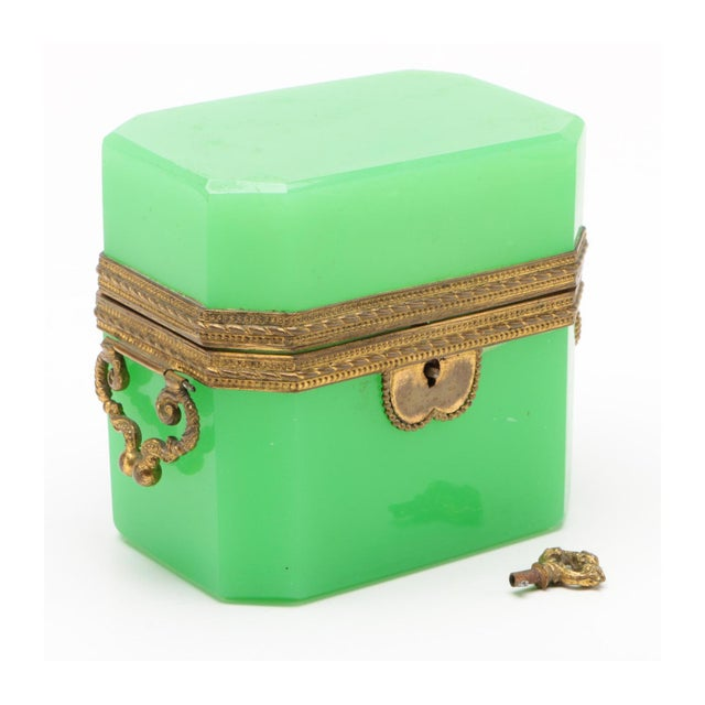 Green 19th Century French Green Opaline Glass Casket For Sale - Image 8 of 8