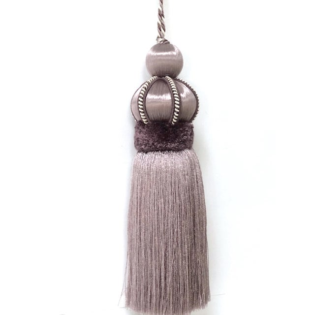 Lavender Key Tassel With Cut Velvet Ruche For Sale - Image 9 of 9