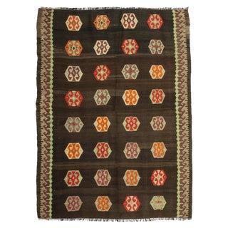 "1960s Turkish Flat Weave Floor Kilim Rug - 4'1"" X 5'6"""