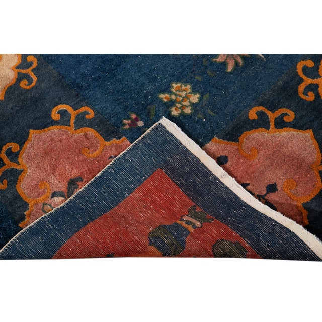 Early 20th Century Antique Art Deco Chinese Square Wool Rug 13 X 12 For Sale - Image 4 of 13