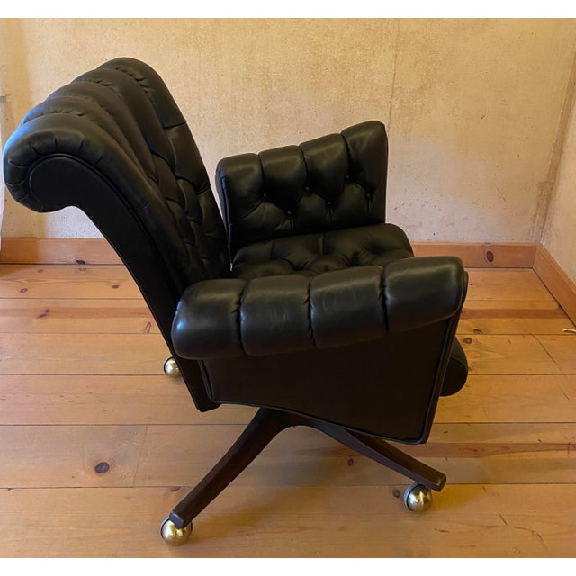 Dunbar Furniture Edward Wormley Leather Desk Chair For Sale - Image 4 of 11