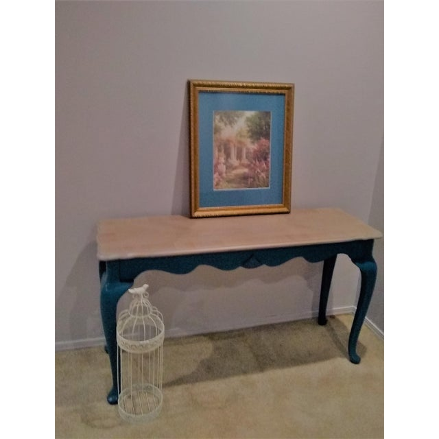 Victorian style console/hallway/sofa table painted in teal blue. This is a reproduction piece that was manufactured in...