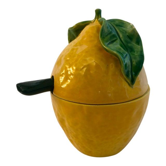 Vintage Italian Pottery Lemon Covered Dish For Sale