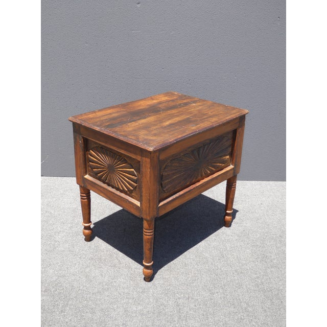 Spanish Style Carved Wood Chest End Table - Image 6 of 11
