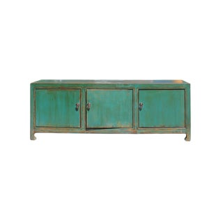Distressed Rustic Teal Green Blue Lacquer Low Console Table Cabinet For Sale
