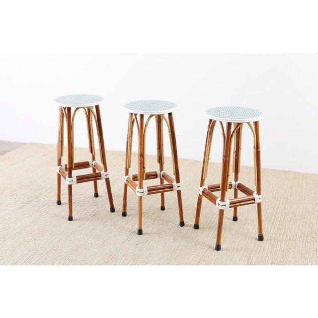 Set of Three Maison Gatti Rattan French Bistro Barstools For Sale - Image 12 of 13