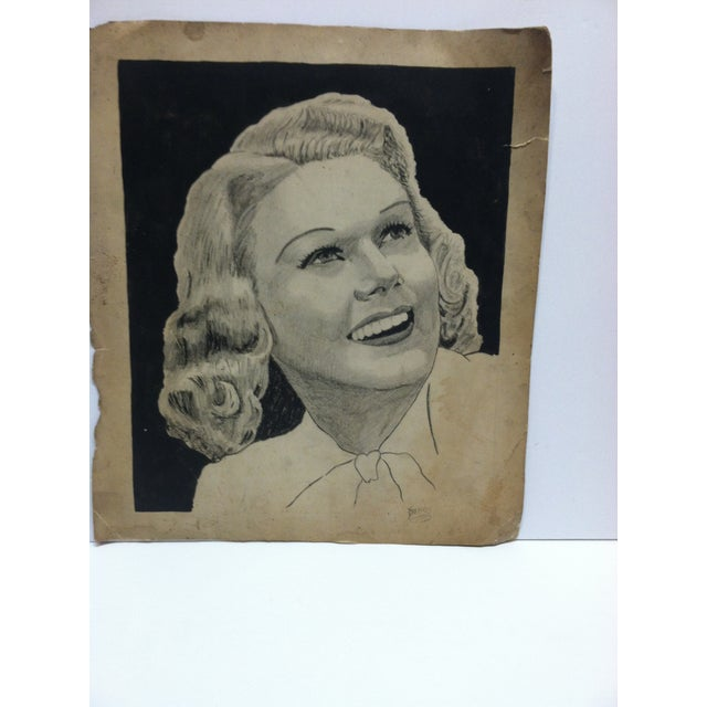 """This is a vintage original drawing on paper that is titled """"Pretty Smile"""" by Clarance Young. The drawing is ready for..."""