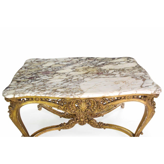 19th Century French Louis XV Style Giltwood Center Table circa 1870 For Sale - Image 10 of 11