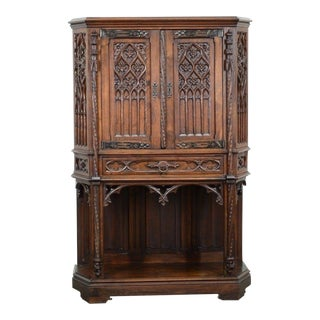 1900s French Gothic Walnut Cabinet For Sale