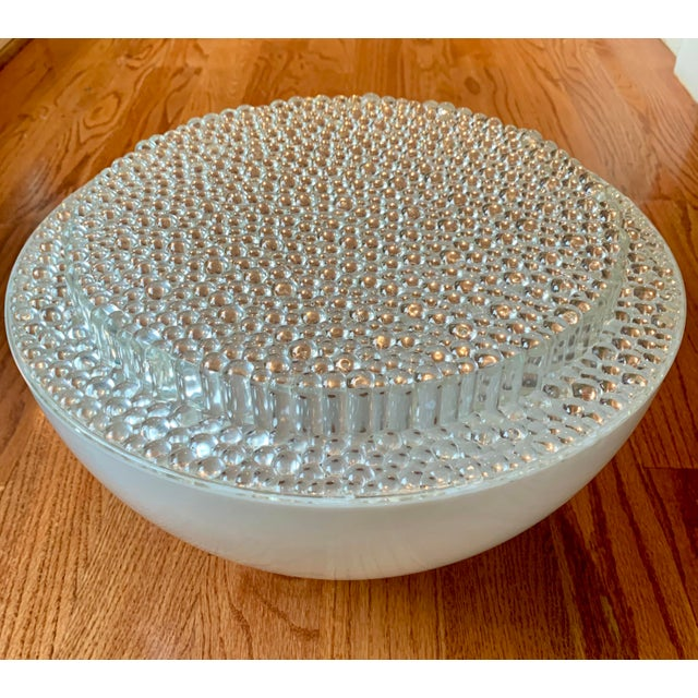 Resin Mid Century Modern Opaque Resin Dome Pendant With Textured Light Diffuser For Sale - Image 7 of 9