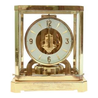 Case Glass / Brass Jaeger Le Coultre Desk Clock For Sale