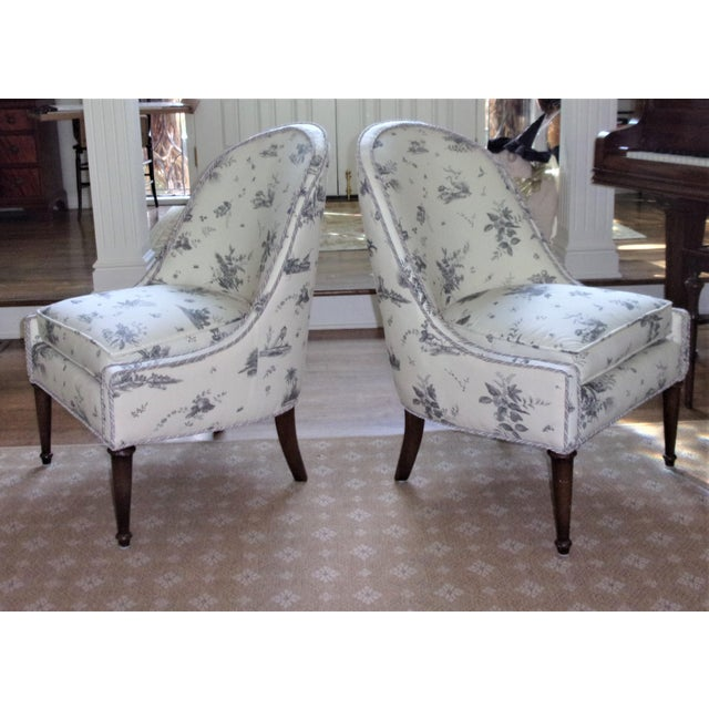 Brunschwig & Fils Upholstered Chairs - A Pair For Sale - Image 4 of 9
