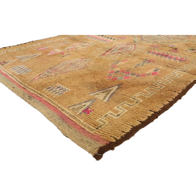 20988 Vintage Berber Moroccan Rug with Boho Chic Hygge Style and Warm Earth-Tone Colors . Softer yet no less striking,...