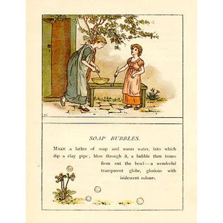 Vintage Children's Game Print by Kate Greenaway, Soap Bubbles For Sale