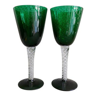 Early Blenko Blown Green Glass Goblet Vases - a Pair For Sale