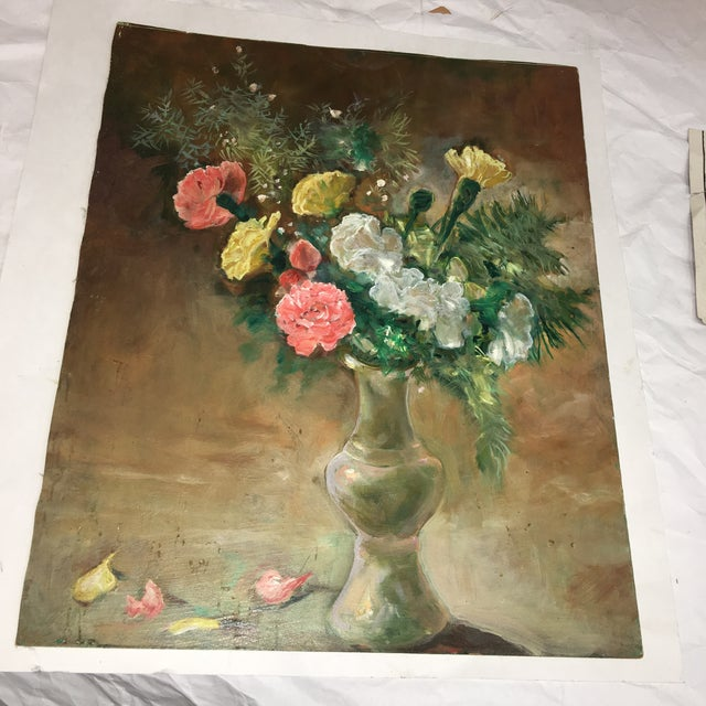 A beautiful old oil painting of a flower vase with some fallen petals. Painted on Masonite Board. Wonderful colors. In...