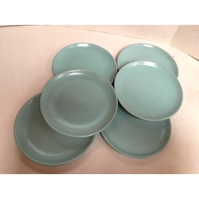 Mid Century Aqua Pottery Plates - Set of 6 - Image 4 of 8