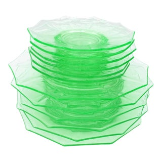 Antique Green Glass Luncheon & Dessert Plates in Two Sizes - Set of 12 For Sale