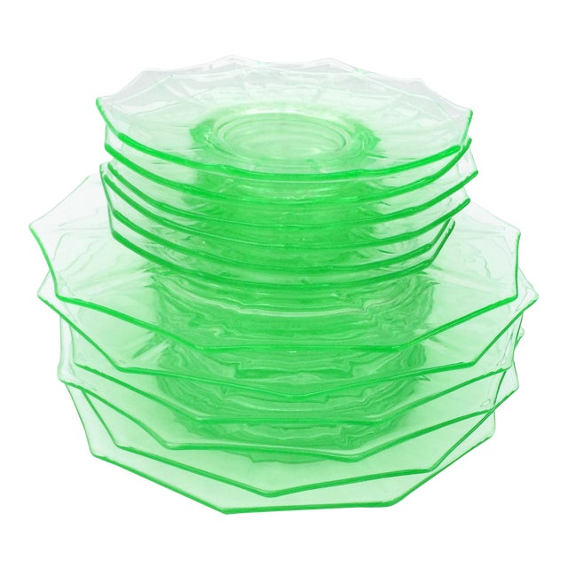 Antique Green Glass Luncheon & Dessert Plates - Set of 12 For Sale