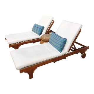 Modern Teak Chaise Lounge Chairs - a Pair For Sale