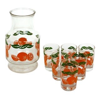Vintage Anchor Hocking Pitcher & Glasses W/ Oranges-Set of 7 For Sale
