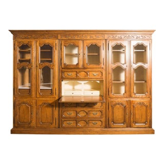 Country French Walnut Baker Secretary with Drop Desk Mini Bar and Lattice Doors For Sale