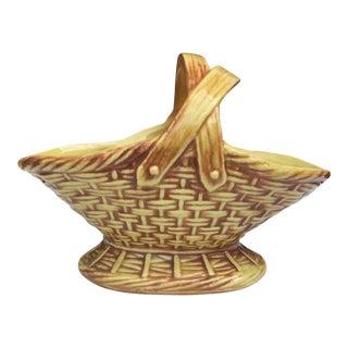 Vintage McCoy Pottery Handled Basket For Sale