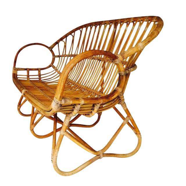 Vintage Sculptural Bamboo Settee Franco Albini Style Love Seat For Sale