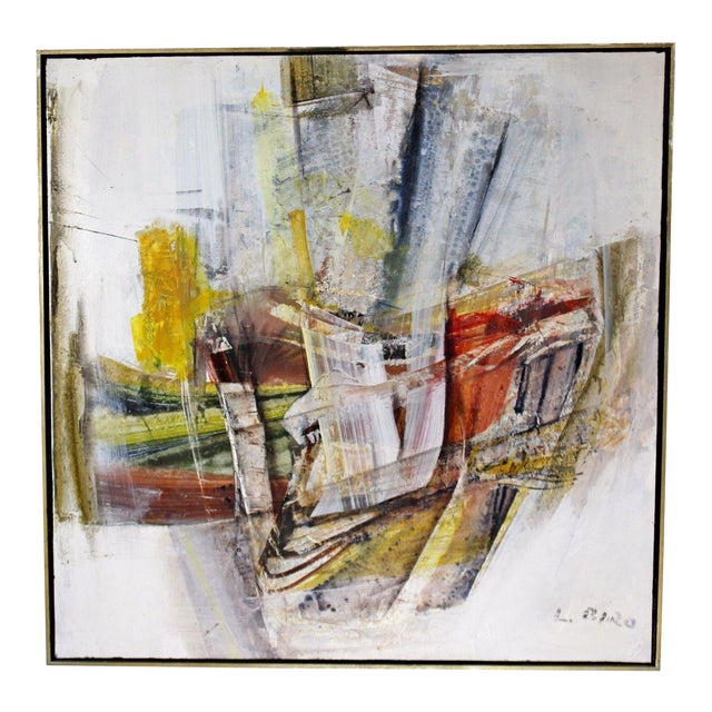Mid Century Modern Framed Mixed Media Acrylic Abstract Painting by Ljubo Biro For Sale