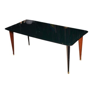 Italian Green Glass Top Dining Table For Sale