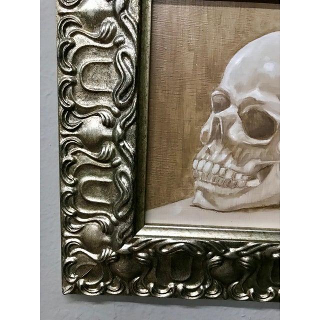 1970s Vintage Original Framed Skull Oil Painting For Sale - Image 4 of 5