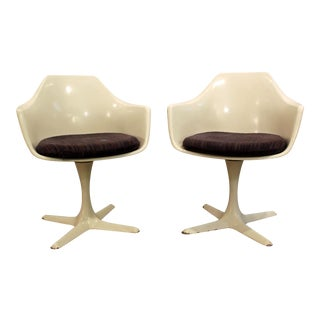Mid-Century Modern Burke Saarinen Style White Tulip Dining Chairs - A Pair For Sale