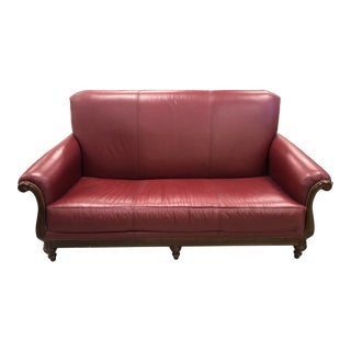 1980s Thomasville Leather Loveseat For Sale