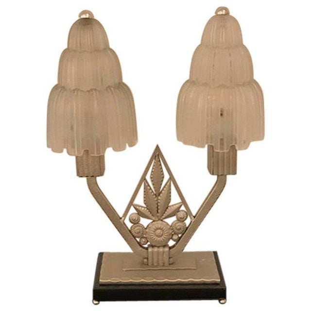 """French Art Deco """"Waterfall"""" Table Lamp Signed by Sabino For Sale - Image 13 of 13"""