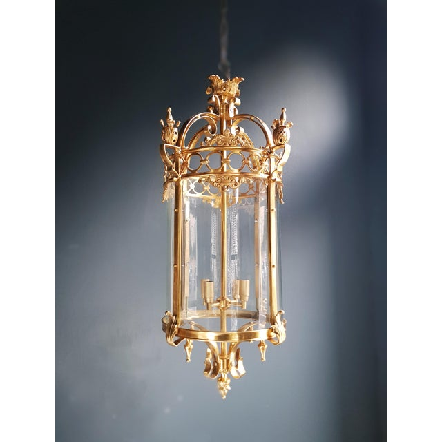 2010s 6 Aviable Large Cylindrical Lantern in Louis XVI Style Brass Glass Pendant Lighting For Sale - Image 5 of 10