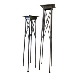 Steel Pedestals, a Pair For Sale