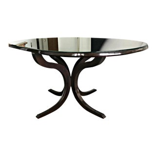 Oval Mahogany W/Glass Top Table For Sale