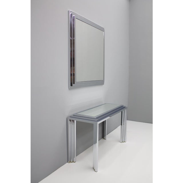 1970s Hollywood Regency Chrome Mirror and Console Table, France, 1974 For Sale - Image 5 of 11
