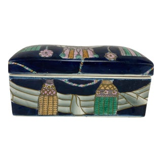 1980s Vintage Deco-Style Ceramic Box For Sale
