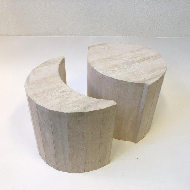 A rare two-piece oval Italian travertine cocktail table designed by Willy Rizzo in the 1970s. The table is signed which is...