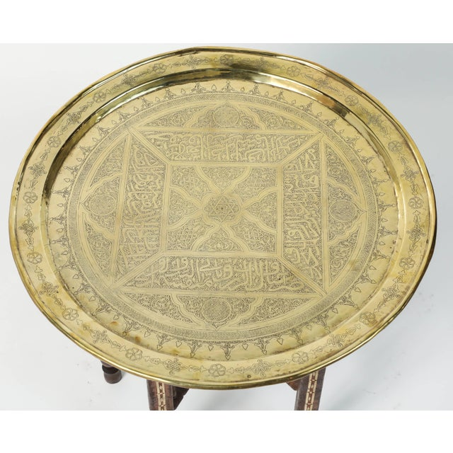 Islamic Middle Eastern Syrian Antique Brass Tray Table With Wooden Folding Stand For Sale - Image 3 of 9