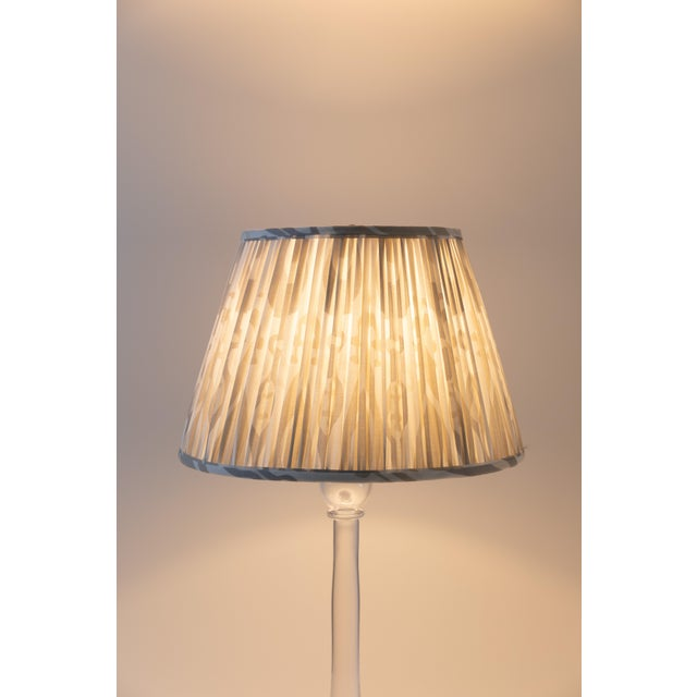 "Contemporary Petal Ikat in Linen 10"" Lamp Shade, Sand For Sale - Image 3 of 7"